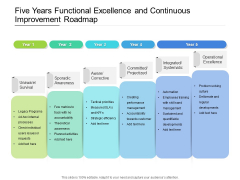 Five Years Functional Excellence And Continuous Improvement Roadmap Diagrams