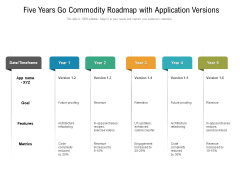 Five Years Go Commodity Roadmap With Application Versions Infographics