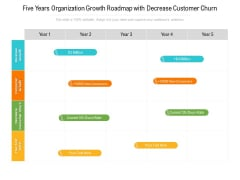 Five Years Organization Growth Roadmap With Decrease Customer Churn Infographics
