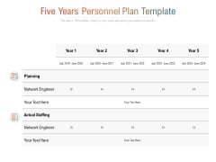 Five Years Personnel Plan Template Ppt PowerPoint Presentation Slides Graphic Tips
