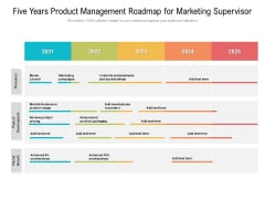 Five Years Product Management Roadmap For Marketing Supervisor Portrait