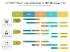 Five Years Product Release Roadmap For Marketing Supervisor Graphics