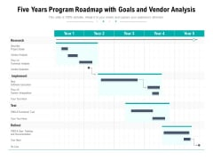 Five Years Program Roadmap With Goals And Vendor Analysis Download
