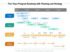 Five Years Program Roadmap With Planning And Strategy Designs