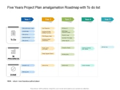 Five Years Project Plan Amalgamation Roadmap With To Do List Slides