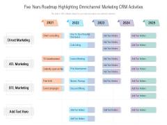 Five Years Roadmap Highlighting Omnichannel Marketing CRM Activities Elements