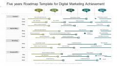Five Years Roadmap Template For Digital Marketing Achievement Template