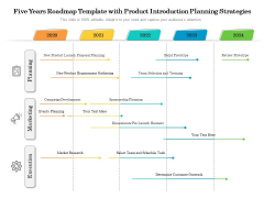 Five Years Roadmap Template With Product Introduction Planning Strategies Brochure