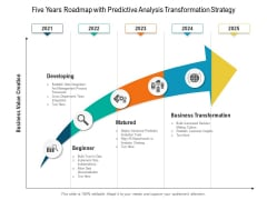 Five Years Roadmap With Predictive Analysis Transformation Strategy Formats