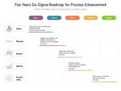 Five Years Six Sigma Roadmap For Process Enhancement Diagrams