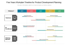Five Years Workplan Timeline For Product Development Planning Demonstration