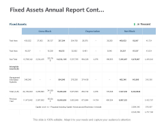 Fixed Assets Annual Report Cont Ppt PowerPoint Presentation Styles Format Ideas