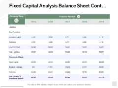 Fixed Capital Analysis Balance Sheet Cont Ppt PowerPoint Presentation Ideas Designs Download