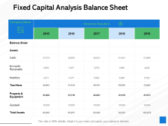 Fixed Capital Analysis Balance Sheet Ppt PowerPoint Presentation Infographic Template Microsoft