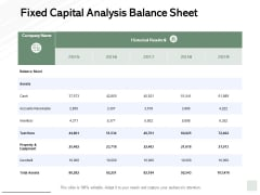 Fixed Capital Analysis Balance Sheet Ppt PowerPoint Presentation Infographics Shapes