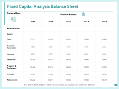 Fixed Capital Analysis Balance Sheet Ppt PowerPoint Presentation Portfolio Example Topics