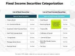 Fixed Income Securities Categorization Table Ppt PowerPoint Presentation Professional Outfit
