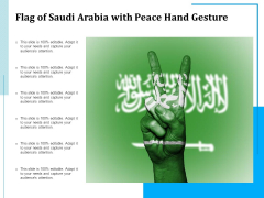 Flag Of Saudi Arabia With Peace Hand Gesture Ppt PowerPoint Presentation Show Deck PDF