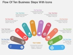 Flow Of Ten Business Steps With Icons Powerpoint Template