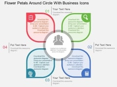 Flower Petals Around Circle With Business Icons Powerpoint Templates
