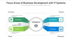 Focus Areas Of Business Development With It Systems Ppt Infographics Images PDF