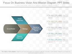 Focus On Business Vision And Mission Diagram Ppt Slides