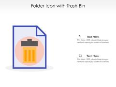 Folder Icon With Trash Bin Ppt PowerPoint Presentation Slides Portfolio PDF