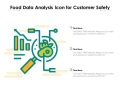 Food Data Analysis Icon For Customer Safety Ppt PowerPoint Presentation Gallery Graphics Tutorials PDF