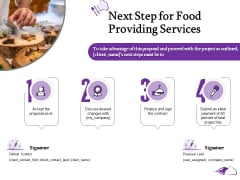 Food Providing Services Catering Menu For Food Providing Services Next Step For Food Providing Services Elements PDF