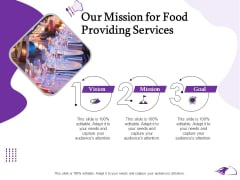 Food Providing Services Catering Menu For Food Providing Services Our Mission For Food Providing Services Slides PDF
