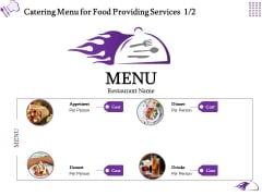 Food Providing Services Catering Menu For Food Providing Services Ppt PowerPoint Presentation File Background Images PDF