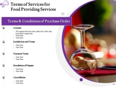 Food Providing Services Catering Menu For Food Providing Services Terms Of Services For Food Providing Services Information PDF