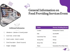 Food Providing Services General Information On Food Providing Services Event Themes PDF