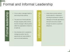 Formal And Informal Leadership Ppt PowerPoint Presentation Ideas