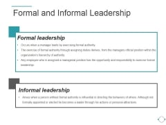 Formal And Informal Leadership Ppt PowerPoint Presentation Layout