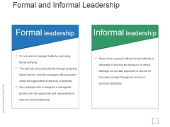 Formal And Informal Leadership Ppt PowerPoint Presentation Pictures