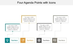 Four Agenda Points With Icons Ppt PowerPoint Presentation Show Infographic Template