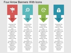 Four Arrow Banners With Icons Powerpoint Templates