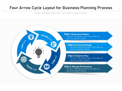Four Arrow Cycle Layout For Business Planning Process Ppt PowerPoint Presentation Gallery Professional PDF