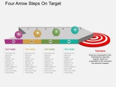 Four Arrow Steps On Target Powerpoint Templates