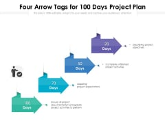 Four Arrow Tags For 100 Days Project Plan Ppt PowerPoint Presentation Professional Microsoft PDF