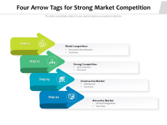 Four Arrow Tags For Strong Market Competition Ppt PowerPoint Presentation Diagram Templates PDF