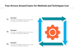 Four Arrows Around Gears For Methods And Techniques Icon Ppt PowerPoint Presentation File Slides PDF