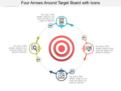 Four Arrows Around Target Board With Icons Ppt Powerpoint Presentation Infographics Picture