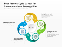 Four Arrows Cycle Layout For Communications Strategy Plan Ppt PowerPoint Presentation File Structure PDF