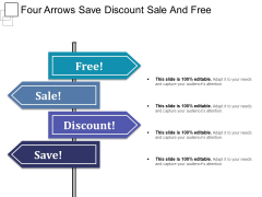 Four Arrows Save Discount Sale And Free Ppt PowerPoint Presentation Slides Download