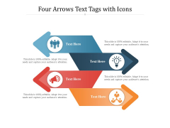 Four Arrows Text Tags With Icons Ppt PowerPoint Presentation Gallery Images PDF