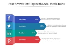 Four Arrows Text Tags With Social Media Icons Ppt PowerPoint Presentation File Vector PDF