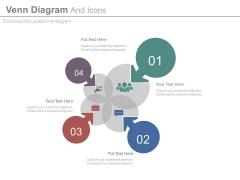Four Arrows Venn Diagram With Icons Powerpoint Template