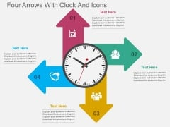 Four Arrows With Clock And Icons PowerPoint Template
